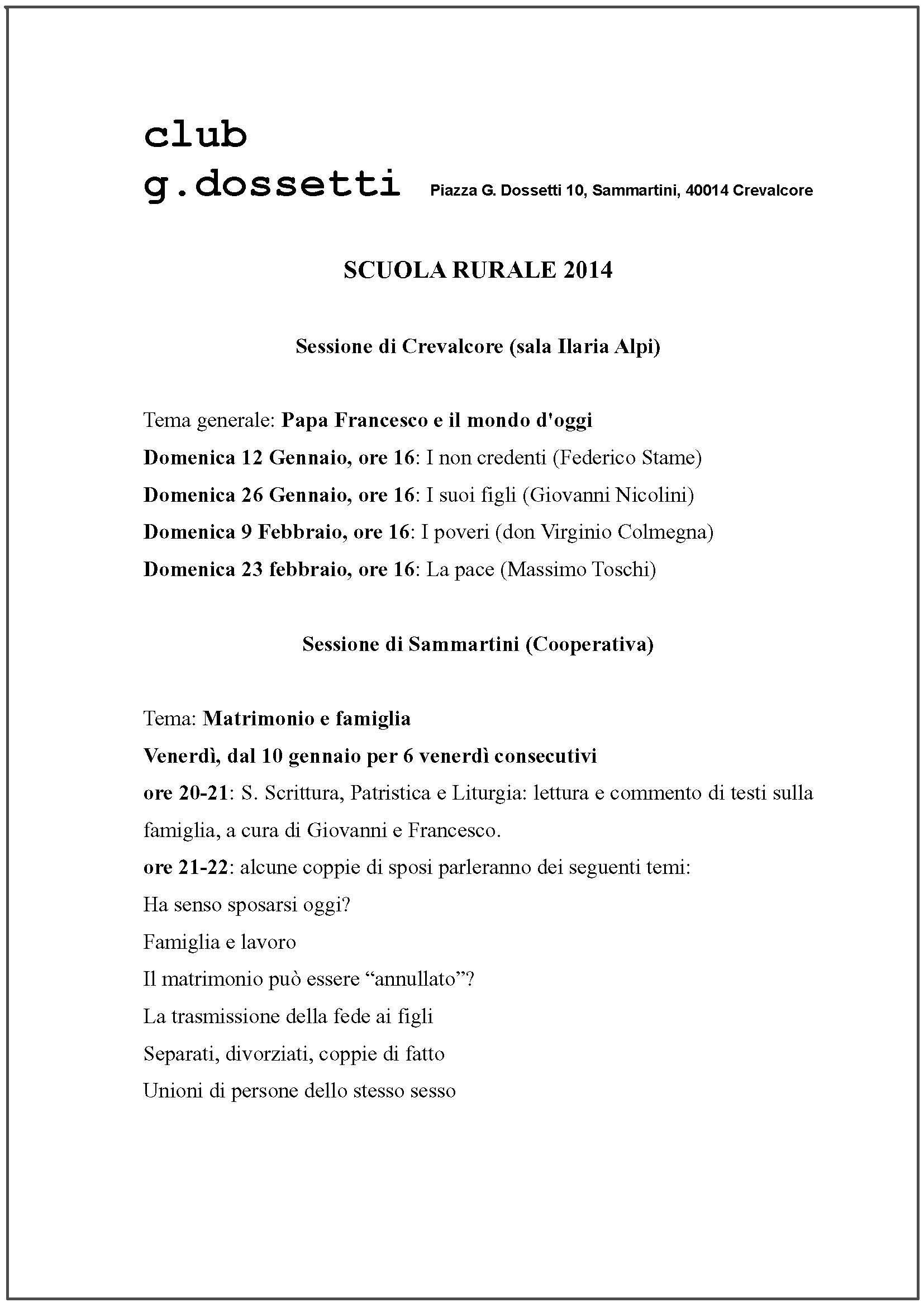 Scuola Rurale 2014 – Incontro di domenica 26-01-2014