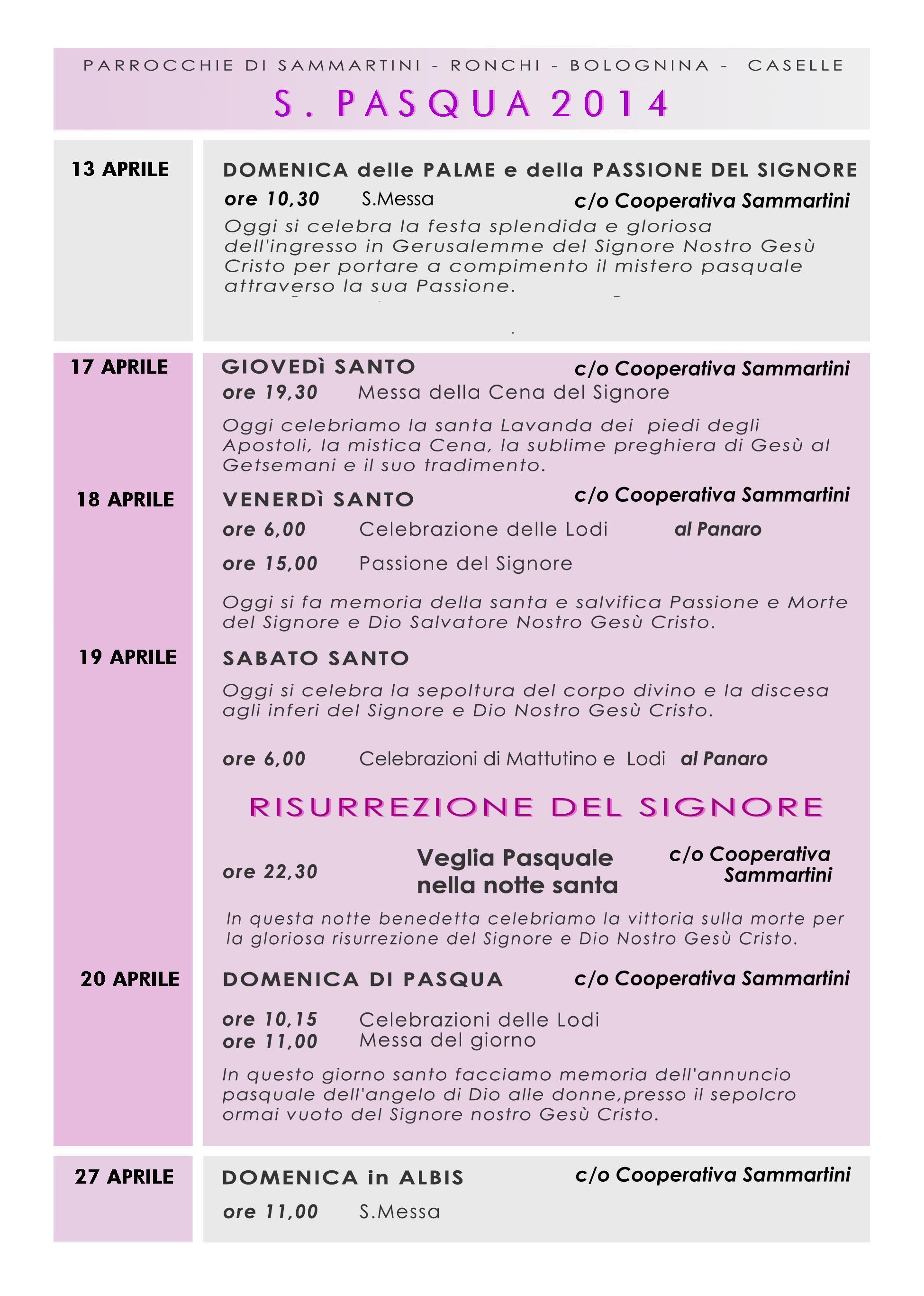 Liturgie pasquali a Sammartini 2014