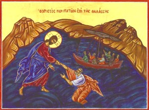 Gesu cammina sulle acque