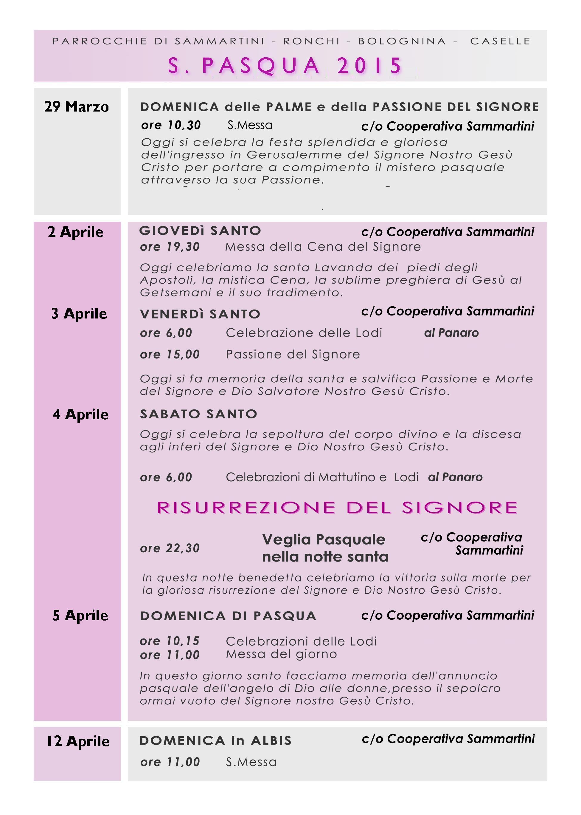 Liturgie pasquali a Sammartini 2015