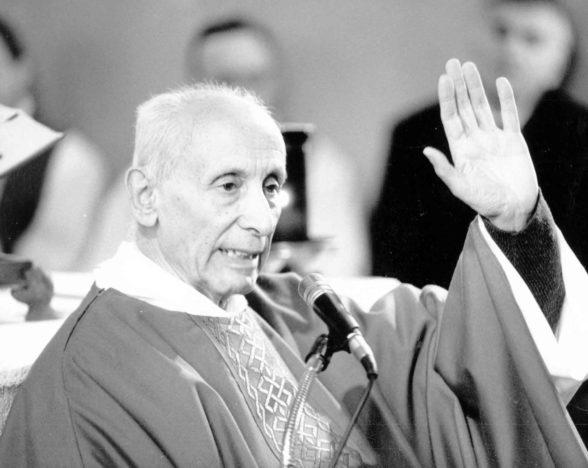 1995 02 05 Dossetti a messa - Sariano di Trecenta